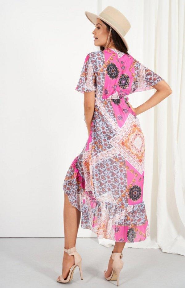 Zwiewna asymetryczna sukienka maxi LG523/D16 tył