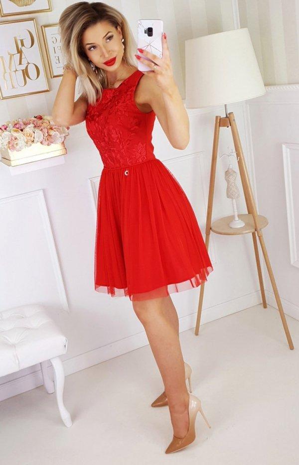 Bicotone sukienka z koronką czerwona 2179-12 tył