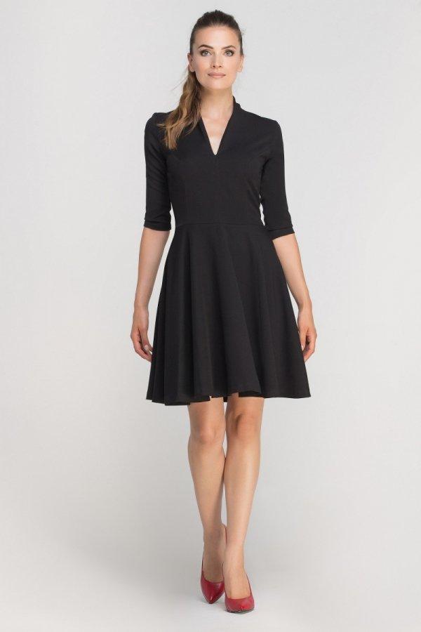 Sukienka rozkloszowana z dekoltem czarna SUK147