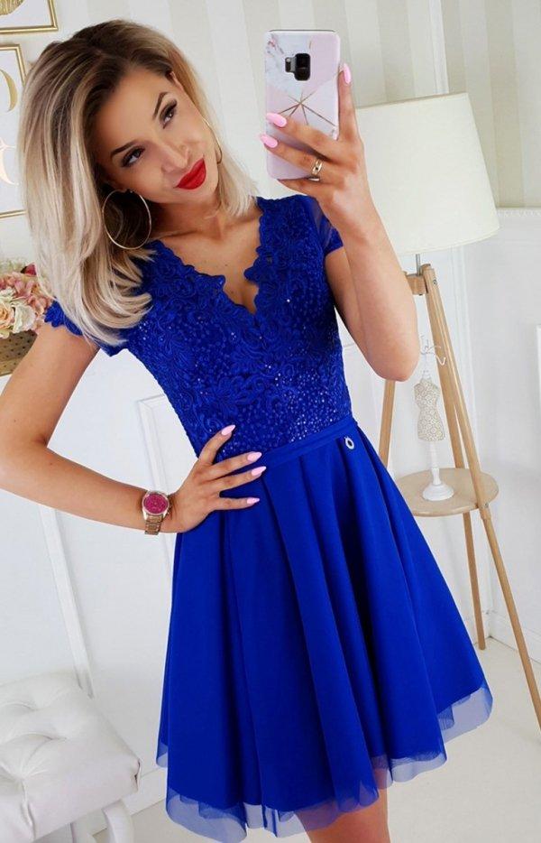 Chabrowa koronkowa sukienka z tiulem 2180-05