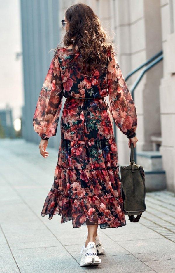 Elegancka sukienka midi w kolorowe kwiaty 0304/R79 tył
