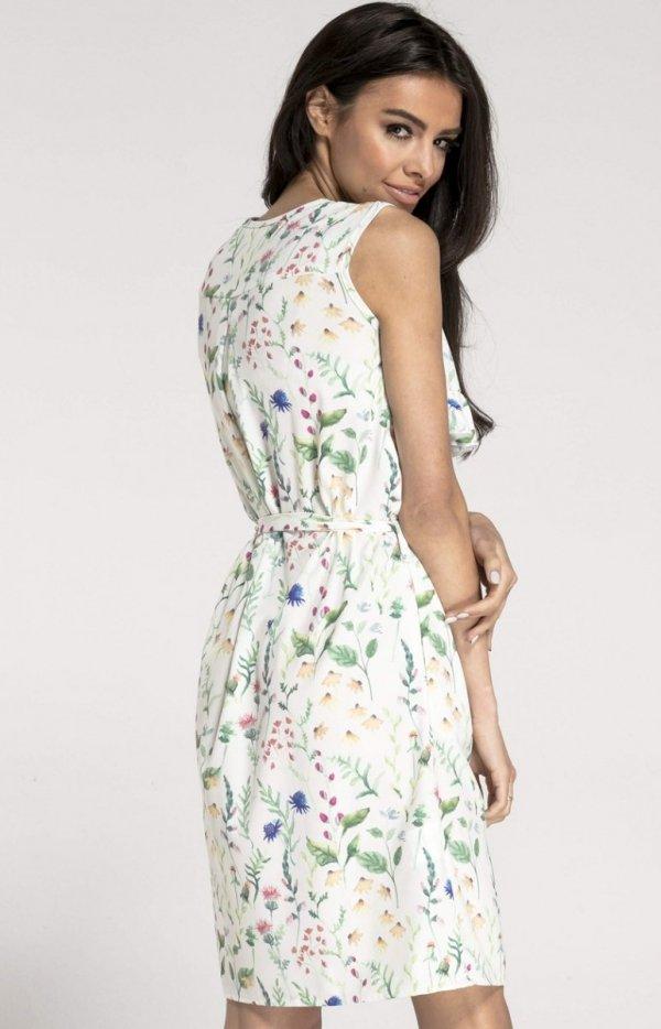 Prosta sukienka w kwiaty ecru NA1001 tył