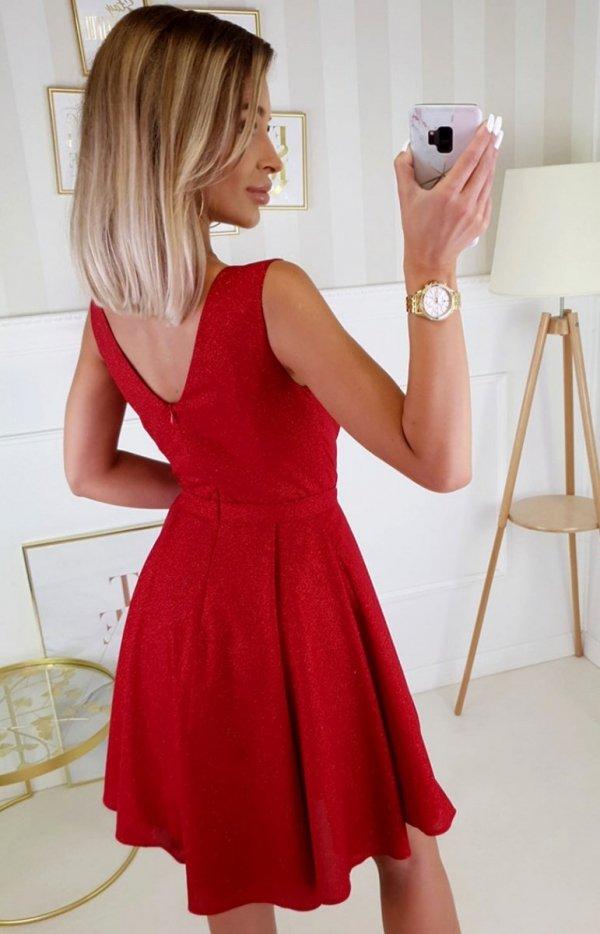 Elegancka czerwona sukienka z brokatem 2215-02 tył