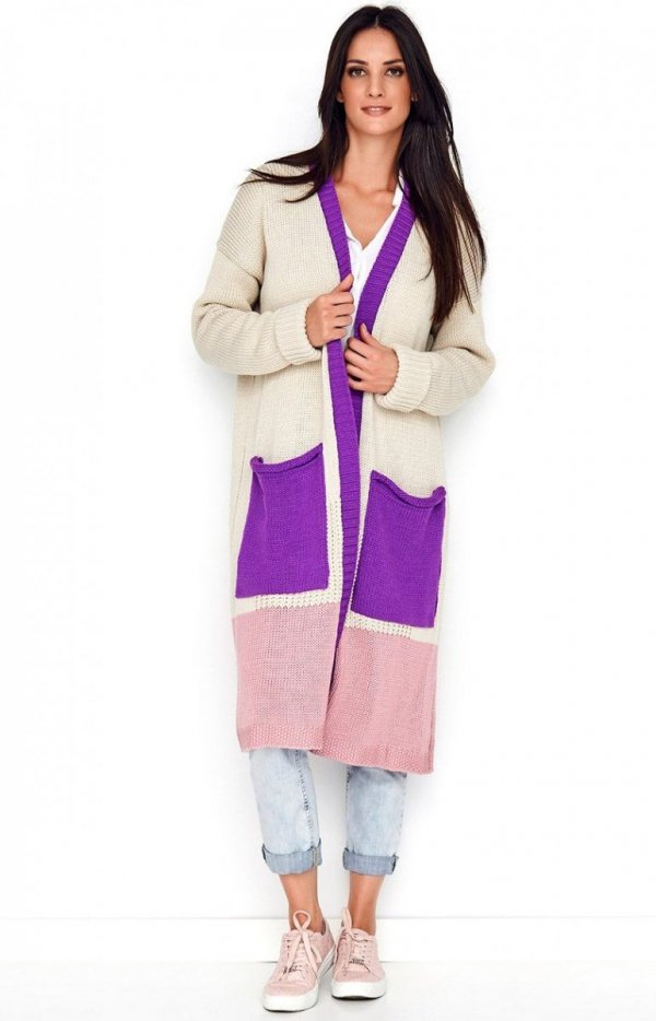 Długi trójkolorowy sweter kardigan fioletowy S70-1