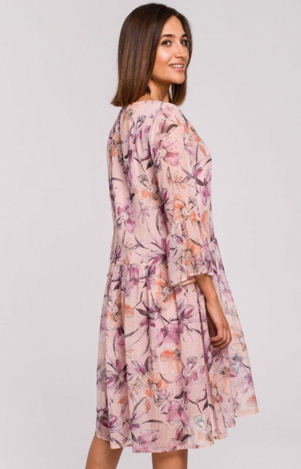 Oversizowa sukienka w kwiaty S214/2 tył