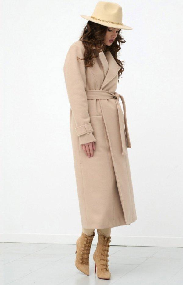 Długi płaszcz z wiązaniem beżowy 0017-1
