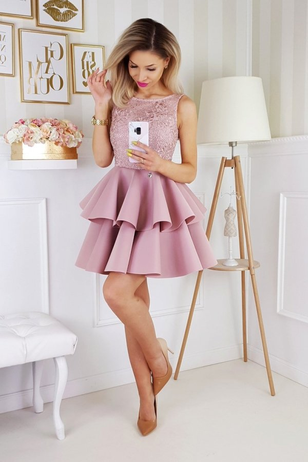 Piankowa sukienka z koronką 2175-20_1