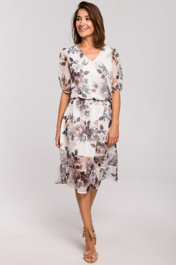 Sukienka midi w kwiaty S215/1-1