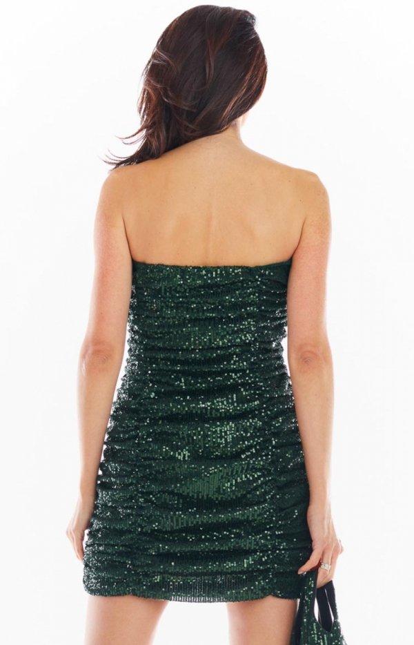 Kobieca mini sukienka zielona A401 tył