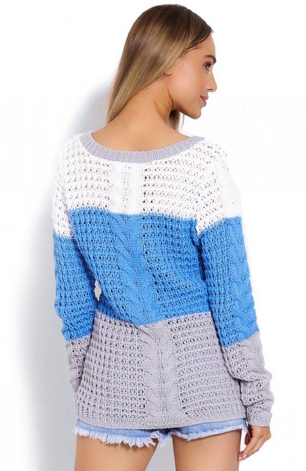 PeekaBoo 40008 sweter w paski niebieski tył