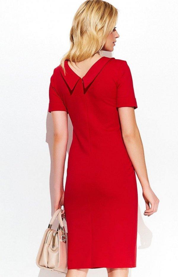 Makadamia M411 sukienka czerwona tył