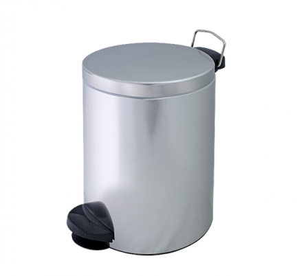 Metalowy kosz na śmieci KP 14-S ze stali nierdzewnej 14l z pedałem
