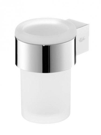 Szklany kubek Bisk Futura Silver 02987 w chromowanym uchwycie metalowym