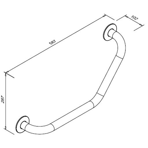 Poręcz kątowa 130° przysedesowa dla niepełnosprawnych Faneco S32UKS SN M 30x30 cm stal nierdzewna