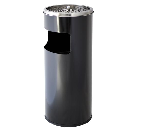 Metalowy kosz na śmieci KPP 17-CZ 60 cm z popielnicą wykonany ze stali nierdzewnej