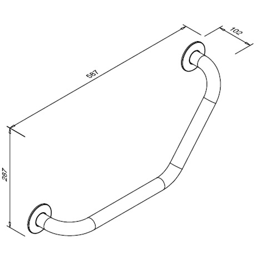 Poręcz kątowa 130° przysedesowa dla niepełnosprawnych Faneco S32UKS SW B 30x30 cm stal węglowa emaliowana