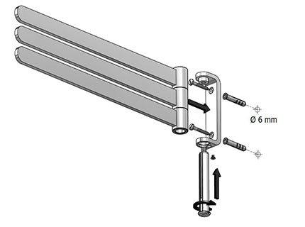 Metalowy wieszak 3-ramienny na ręczniki Bisk Natura 04316 ruchomy chromowany