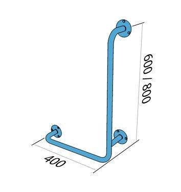 Poręcz kątowa typu L lewa 60/40cm dla niepełnosprawnych UKL stal węglowa emaliowana