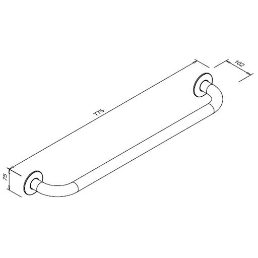 Poręcz prosta dla niepełnosprawnych Faneco S32UP7 SW B 70cm stal węglowa emaliowana