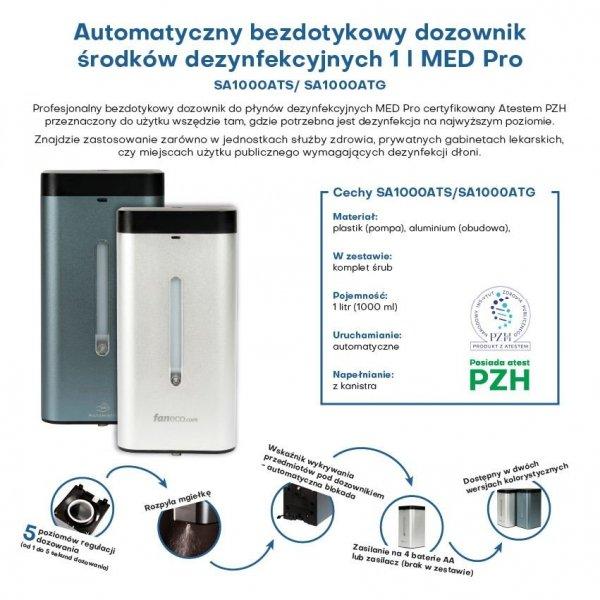Automatyczny bezdotykowy dozownik środków dezynfekcyjnych 1 l MED Pro silver
