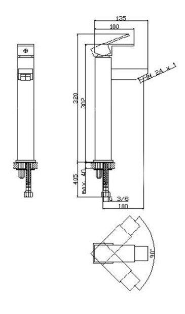 Bateria umywalkowa wysoka 00248 - NORD