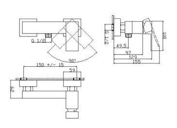Bateria prysznicowa asymetryczna 00244 - NORD
