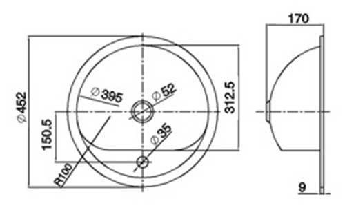Wandaloodporna, jednokomorowa umywalka Faneco WB54 Ø 452 mm ze stali nierdzewnej