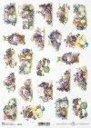 papel de decoupage de arroz Pascua, violetas, conejitos*Reis Decoupage Papier Ostern, Veilchen, Hasen*Пасха, фиалки, кролики