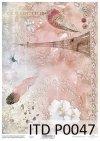 papier decoupage z koronką, piórka, Wieża Eiffla*Decoupage paper with lace, feathers, Eiffel Tower