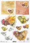 Papel decoupage de Pascua, granja feliz, gallinas, pollo, gallos*Ostern Decoupage Papier, Happy Farm, Hühner, Hähne*Пасхальная бумага для декупажа, счастливая ферма, куры, курица, петухи