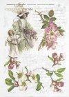 woman, dress, hat, dress, retro, spring, flowers, flower, twig, handwriting