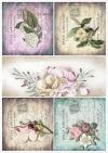 Conjunto creativo en papel de arroz - Hermosas flores*Kreativsatz auf Reispapier - schöne Blumen*Креативный набор на рисовой бумаге - Красивые цветы
