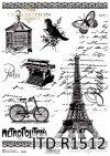 Papier ryżowy Vintage, rower, Wieża Eiffla, maszyna do pisania, dekory, klatka dla ptaków*Vintage rice paper, bicycle, Eiffel tower, typewriter, decors, bird cage
