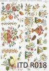papier ryżowy decoupage - kwiaty, haft*rice paper decoupage - flowers, embroidery
