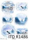 zimowe widoczki, góry, jeleń, sroka*winter views, mountains, deer, magpie