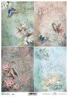 pájaros de papel decoupage, rosas*decoupage papír ptáci, růže*Decoupage Papier Vögel, Rosen