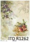 papier decoupage owoce, winogrona, śliwki, brzoskwinie*Paper decoupage fruits, grapes, plums, peaches