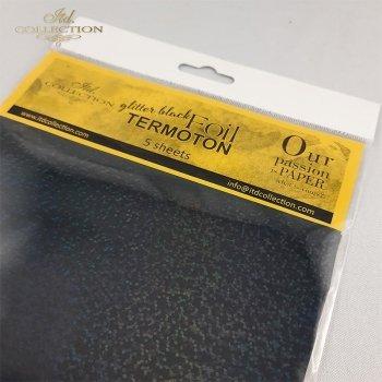 Metallische Folie Termoton - Schwarz glitzernde Metallfolie