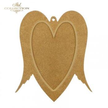 HDF006 Platte * Zweiteiliges Herz mit Flügeln. Spielerei / Rahmen mit kleinem Loch. 19,5 cm x 16,5 cm
