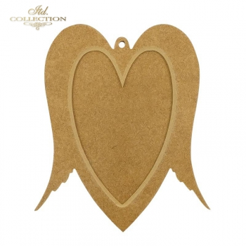 HDF006 Two-part heart with wings. Bauble/frame with little hole. 19,5 cm x 16,5 cm