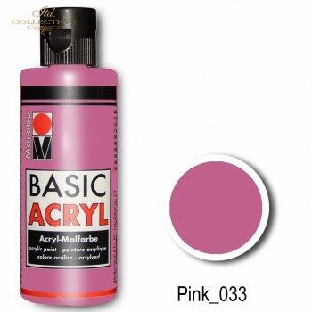 Farba akrylowa Basic Acryl 80 ml Pink 033