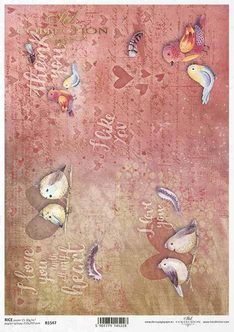 Valentines Decoupage Papier, Vögel, Inschriften*San Valentín decoupage papel, pájaros, inscripciones*Валентина декупаж бумага, птицы, надписи