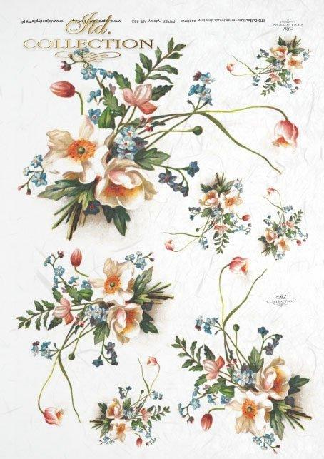 Papier ryżowy do decoupage - kwiaty, narcyzy i niezapominajki, bukiecik polnych kwiatków, decoupage z kwiatami R0223