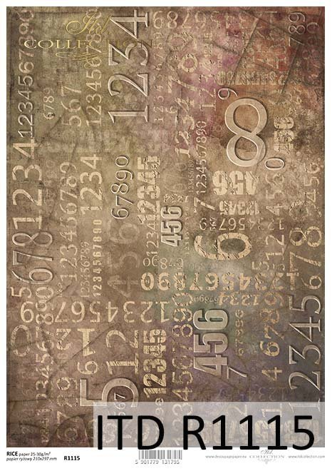 Papier decoupage tła, cyfry*Papel Decoupage fondo, números
