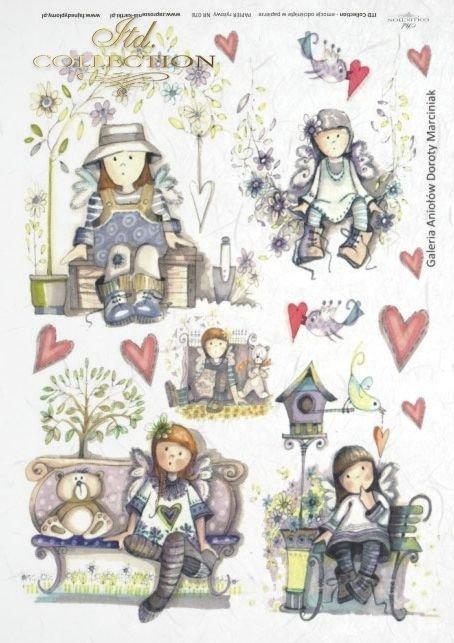 dzieciaki, ławeczka, Walentynki, serce, serca, drzewo, aniołek, aniołki, aniołkowo,  kwiat, kwiaty, kwiatek, kwiatki, ptaszek, miś, misio, misie, Dorota Marciniak, R078