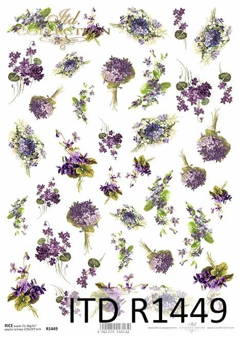 kwiaty, fiołki, konwalie, drobne elementy*flowers, violets, lilies of the valley, small elements