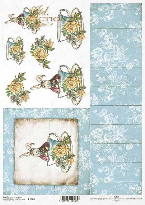 Pascua, liebre en un abrigo, copa, tablas, flores, rosas*Ostern, Vintage, Hase im Mantel, Tasse, Bretter, Blumen, Rosen*Пасха, винтаж, заяц в плаще, чашка, доски, цветы, розы