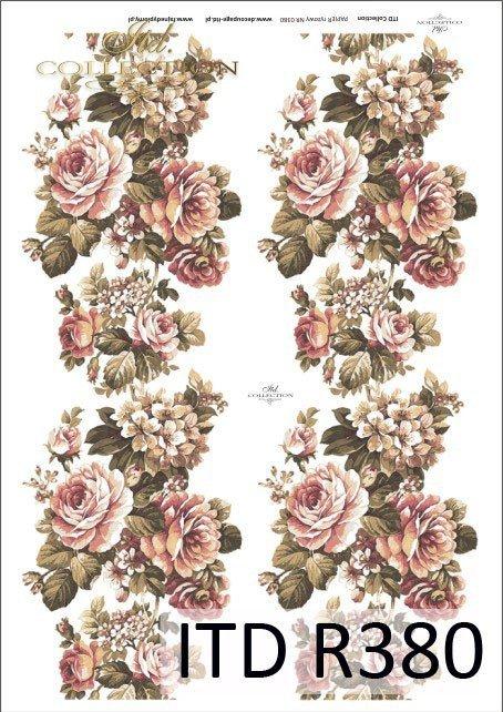Papier ryżowy do decoupage - duże bukiety z różami, grafika XIX wiek R0380