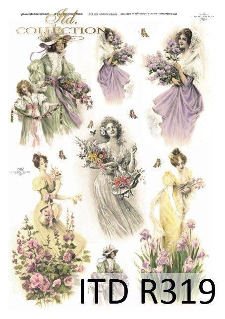wiosna, kwiat, kwiaty, malwa, malwy, motyl, motyle, kobieta, sukienka, retro,