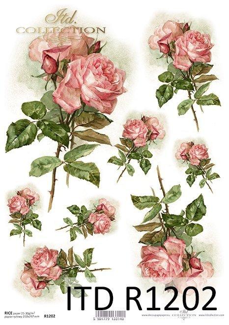 papier decoupage różowe róże*Paper decoupage pink roses